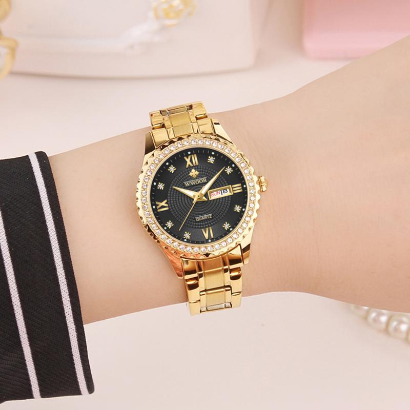 Wwoor Luxo Diamante Senhoras Relógio Moda Elegante Ouro Pulseira Relógio Para Mulheres Quartz Calendário Relógio de Pulso Novo Relogio Feminino J1205