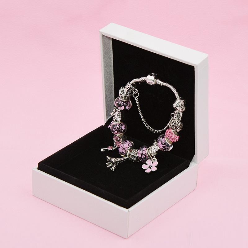 Braccialetto del pendente del nuovo fascino della torre di fascino per Pandora Platinum fai da te Braccialetto elegante del braccialetto elegante con il regalo originale della vacanza della scatola