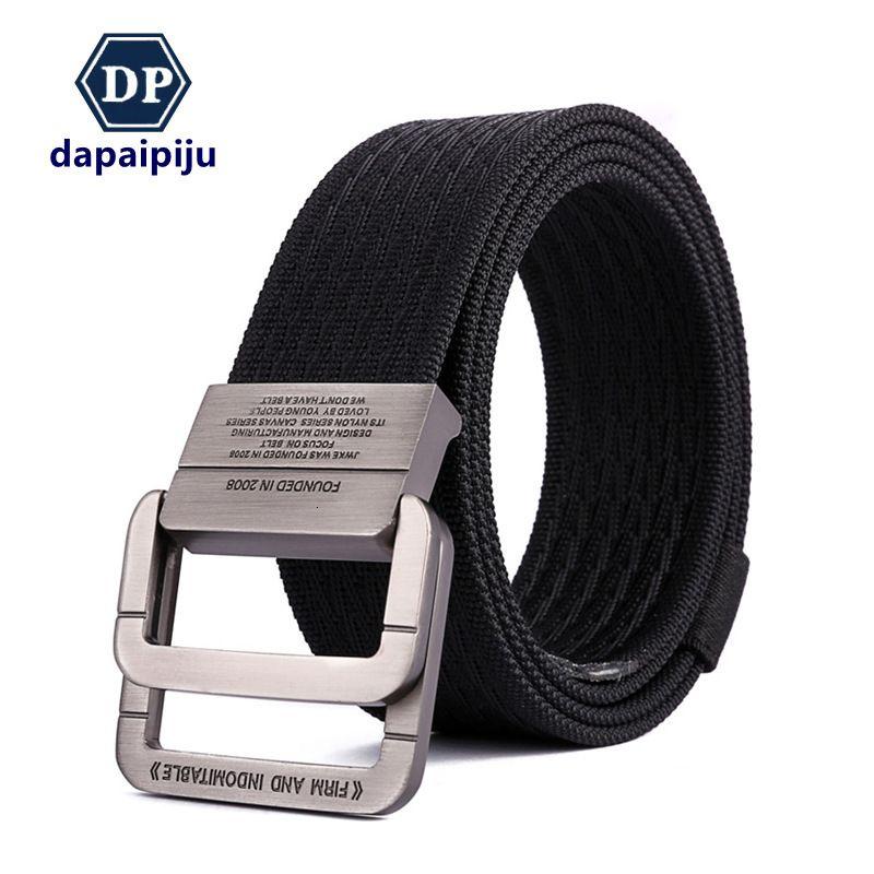 Al aire libre secado rápido nylon masculino táctico aleación de aleación doble anillo hebilla coreano tejido cinturón