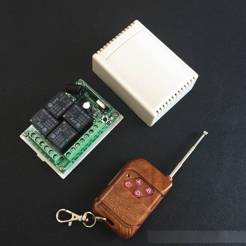 Yığın Kontrolleri 433 MHz Evrensel Kablosuz Uzaktan Kumanda Anahtarı DC 12 V 4CH Röle Alıcı Modülü Ile 4 Kanal RF Uzaktan 433 MHz ...