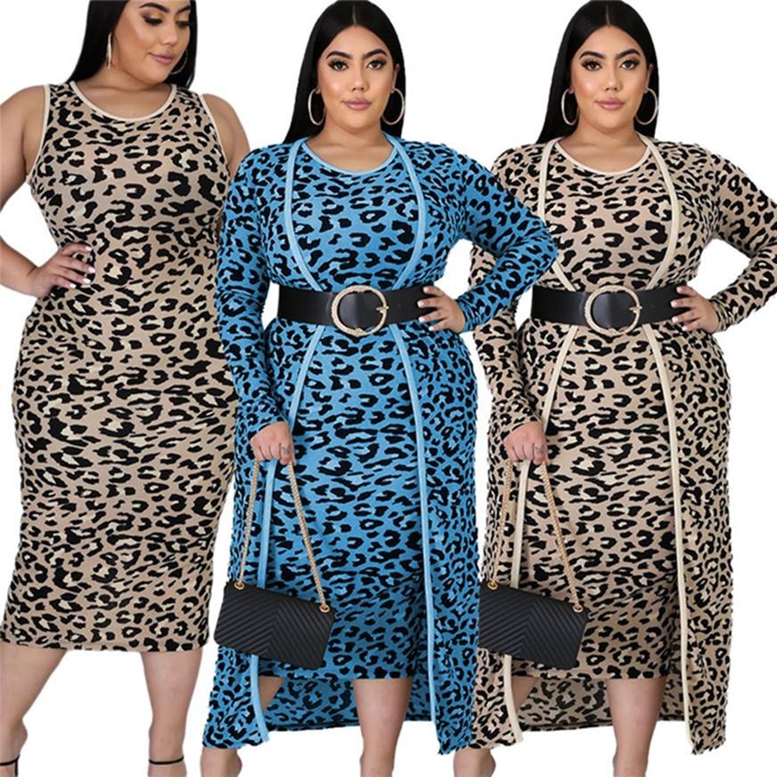 Plus Size Donne Donne 2 pezzi Abiti da donna Abiti a maniche lunghe Cappotto lungo + Sundress Leopard Stampa senza cintura 2 Colori 4060