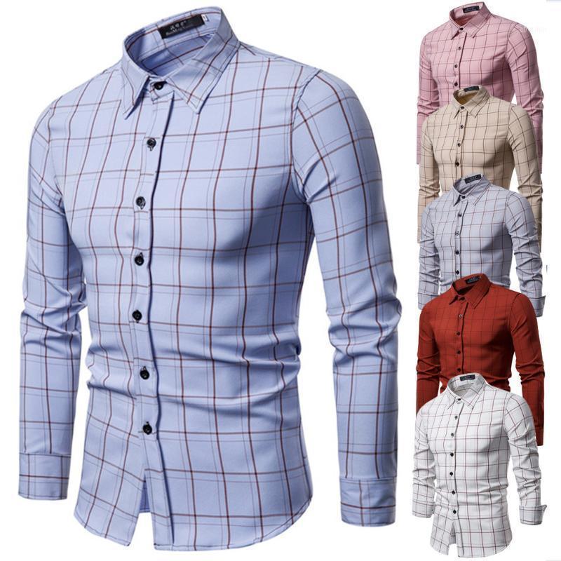2020 Automne Hiver Flanelle Chemise carreaux Chemise à carreaux Hommes Chemises à manches longues Chemise Homme Polyester Business Shirts L07151