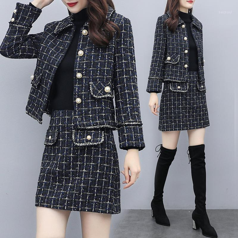 Толстые мини ретро падение французской юбки элегантной высокой талии Blazer плед офис юбка костюм ROPA de Mujer и куртка набор EH50SK1