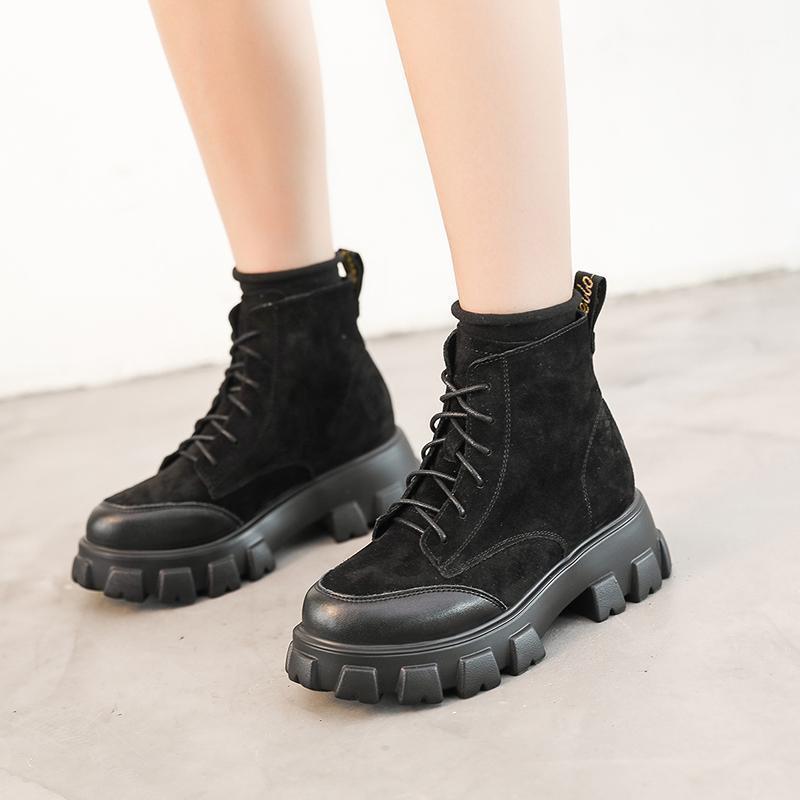 Çizmeler Kadın Kış Motosiklet Kısa Bayanlar Orta Kare Topuklu Moda Platformu Ayakkabı Kadın Siyah Kayısı Ayak Bileği Boots1