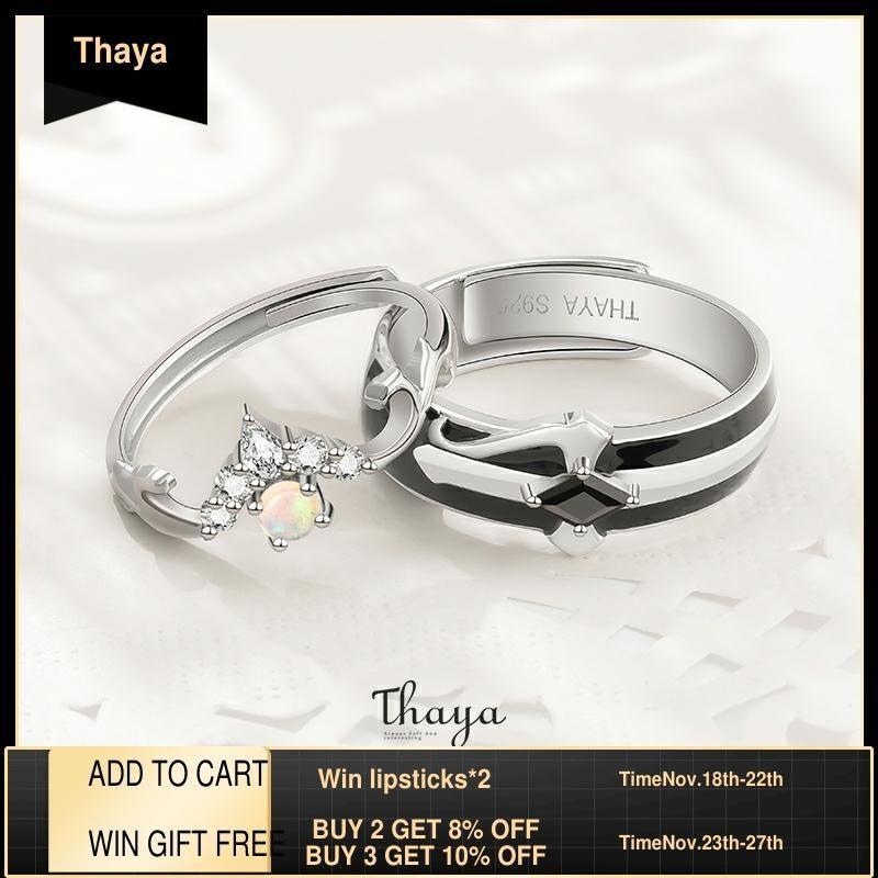 Сказочные сказки серии Thaya S925 Стерлинговые серебряные кольца красочные опал дизайн пара кольца для женщин девушка роскошь ювелирные изделия Y1119