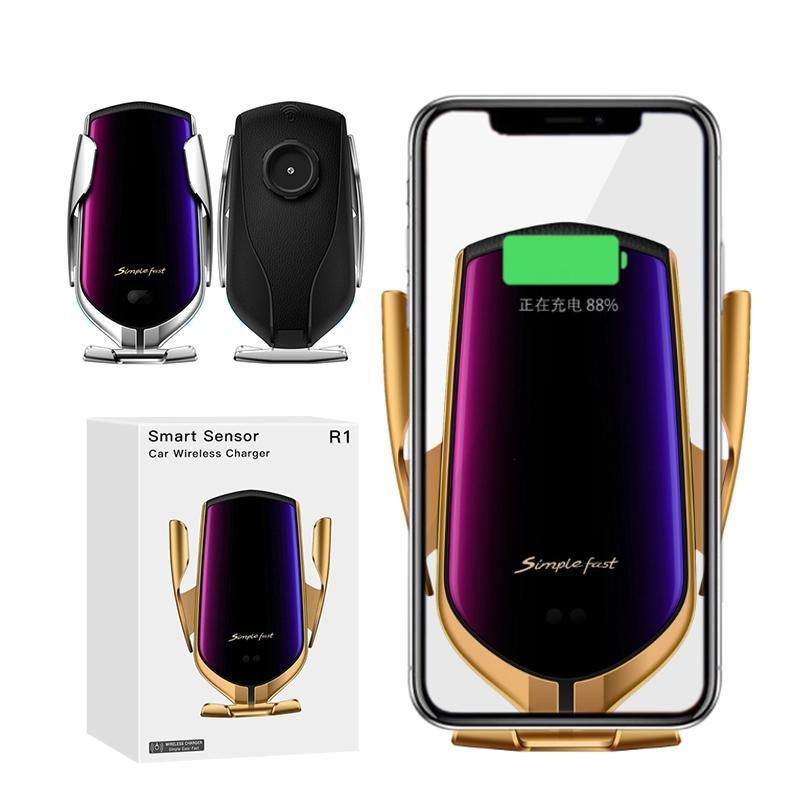 R1 Automatische Klemmung 10W Schnellauto Qi Wireless Ladegerät Stand für iPhone 11 PRO MAX SE 2020 Huawei LG Fast Charging Phone Holder