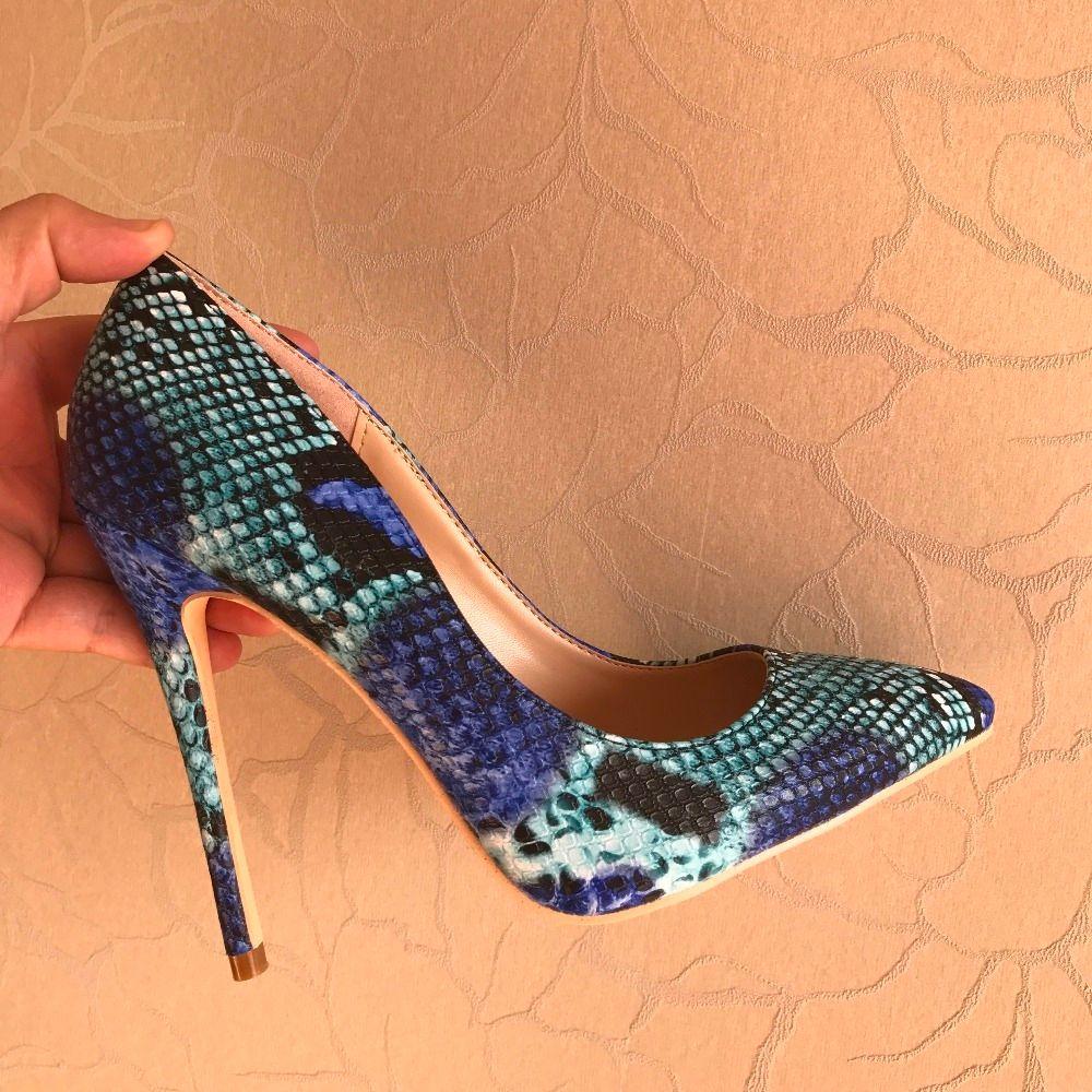 Бесплатная отправка модных женщин Blue Bombs Python Parted High каблуки обувь шпилька 8-10 см Twjs