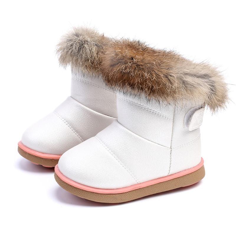 2019 New Girls Botas de nieve Zapatos para niños Invierno PU Botas de cuero Zapatos Niños Niñas Niñas Bebé Niño Zapatos Botas Niñas Q0112