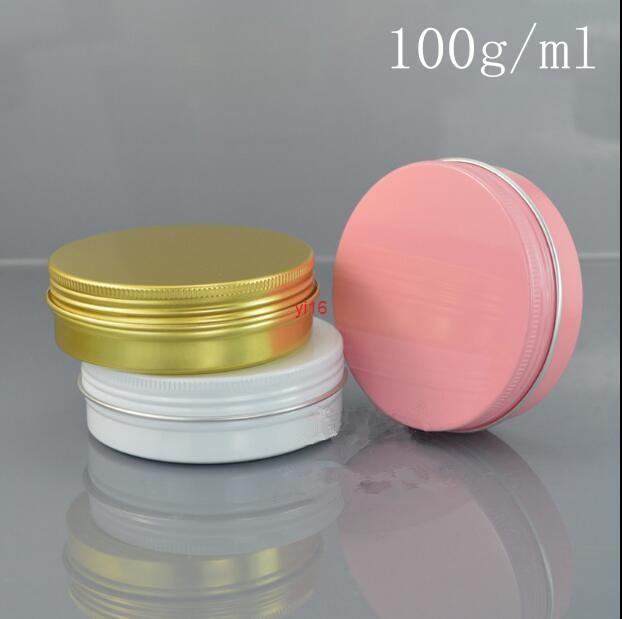 Spedizione veloce100g / ml oro rosa bianco in alluminio metallo barattolo bottiglia all'ingrosso al dettaglio originale ricaricabile cosmetico crema panna polvere contenitore