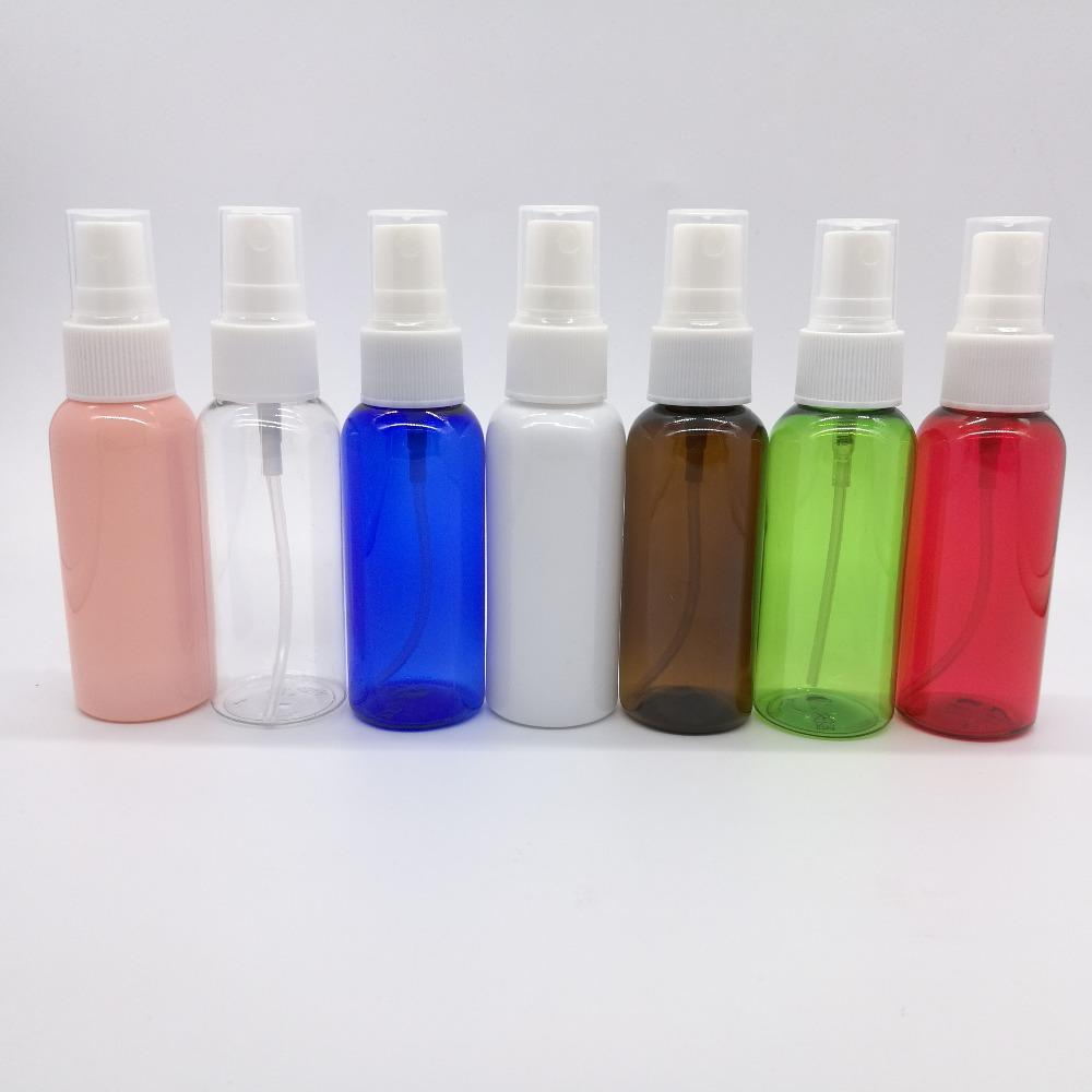100 adet / grup 50 ml Pet Plastik Mist Sprey Şişeleri, 7 farklı renkler ile doldurulabilir parfüm şişesi
