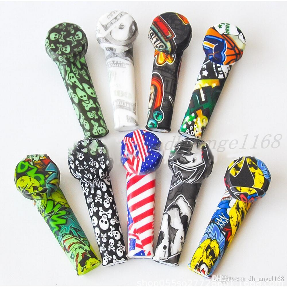 3,5 polegada colher de silicone mão tubulação de mão de silicone mini tubulação de água Dabble para erva seca impressão personalizada tubo de silicone impressão colorida
