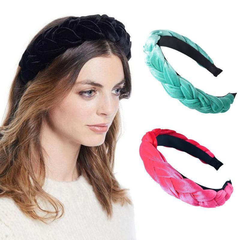 Charm Design Gold velvet Hoop Twist shape Solid color handmade hair bands Women Crown Wide side headband Party Jewelery Headdres