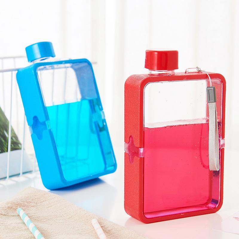 Criativo A5 Água Cups 380ml Esportes Ao Ar Livre Quadrado Plástico Chaleira Portátil Creative Queda Resistente Bebidas Garrafas de Água Vtky2233