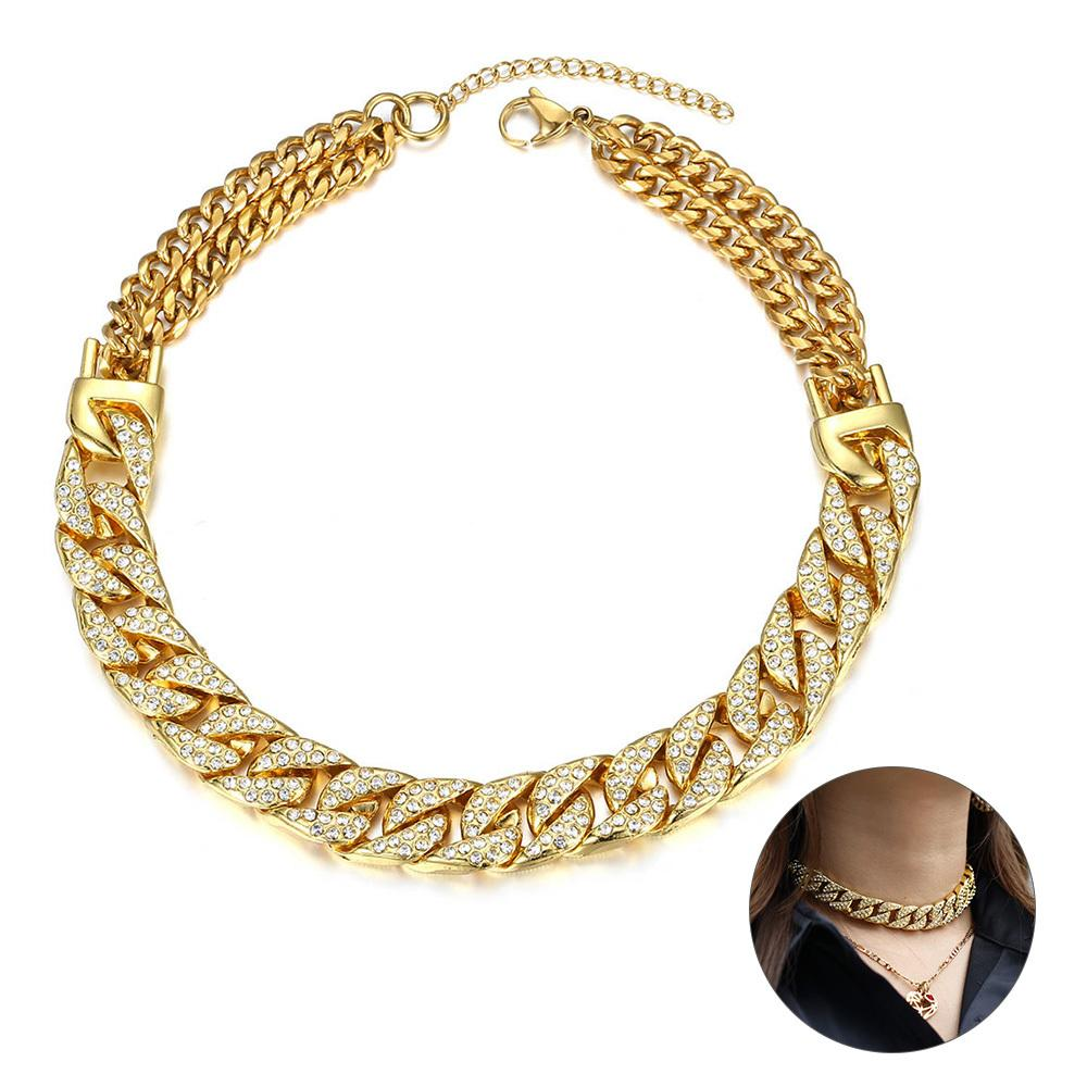 14mm Big Chunky Punk Miami Choker Collar Necklace Gold Color Paved CZ Curb Cuban Necklace for Women Girls Women Jewelry DDN176Q0115