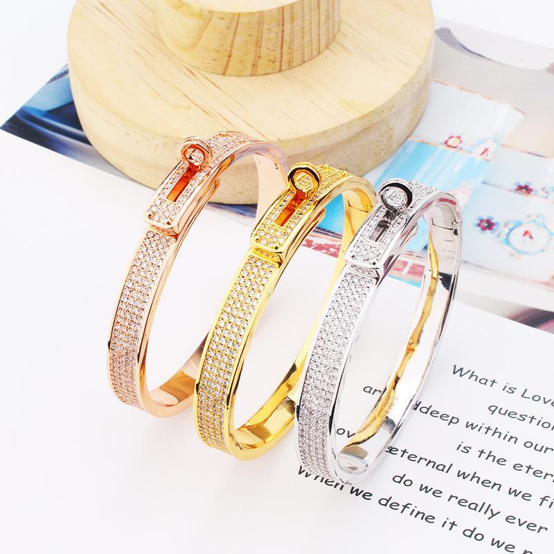 fashion womens bracelets high quality copper plating Inlay diamond bracelet h bracelet jewelry silver bangle bracelet