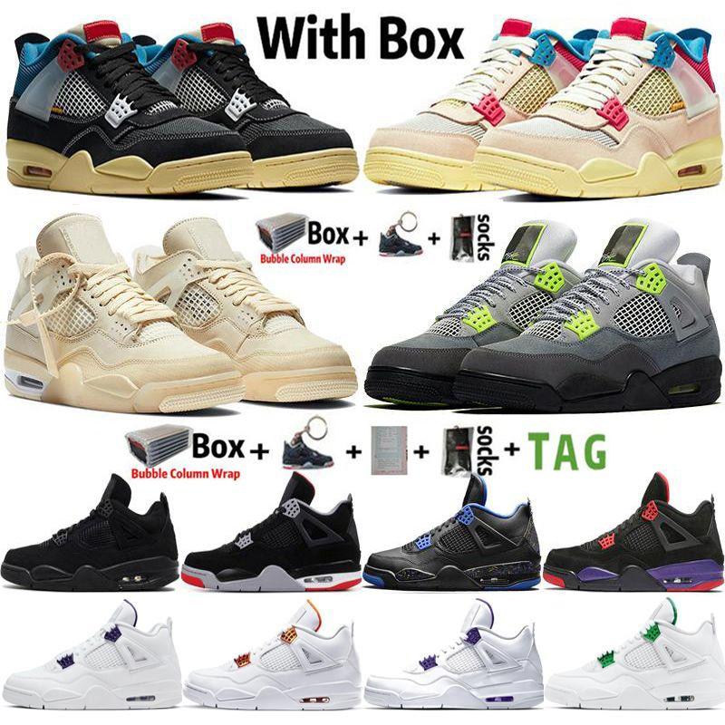 4s Beyaz Yelken Birliği Guava Buz Noir Neon 2020 Siyah Kedi Jumpman 4 Basketbol Ayakkabı Metalik Yeşil Eğitmenler Erkekler Spor Sneakers Boyutu 36-47