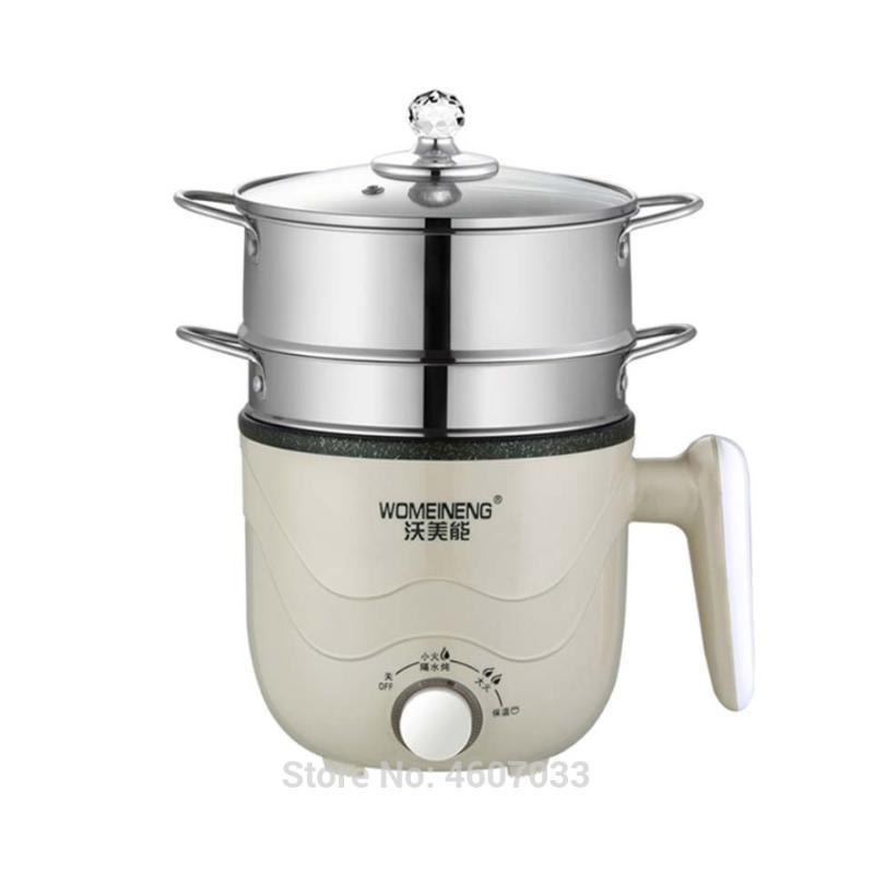 220V mini multifuncional cozinhar máquina de panela frito / camada de vapor preservação calor potenciômetro quente multi panela antiaderente