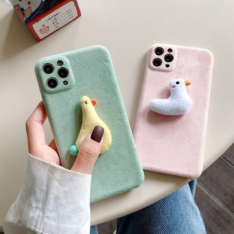 Ins inverno peludo pato pato phone caso para iphone max 7 8 mais 12 SE2020 soft choque à prova de choque tampa traseira