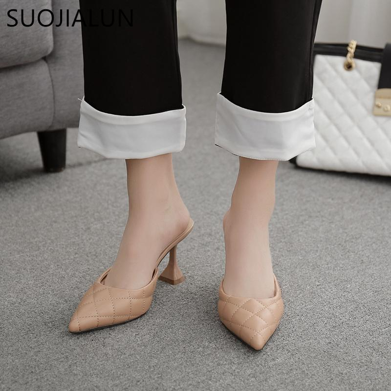 SUOJIALUN Women Slipper Elegant Thin High Heel Slip On Mules Shoes Fashion Brand Embroidery Sandal Female Casual Outdoor Slides C0128
