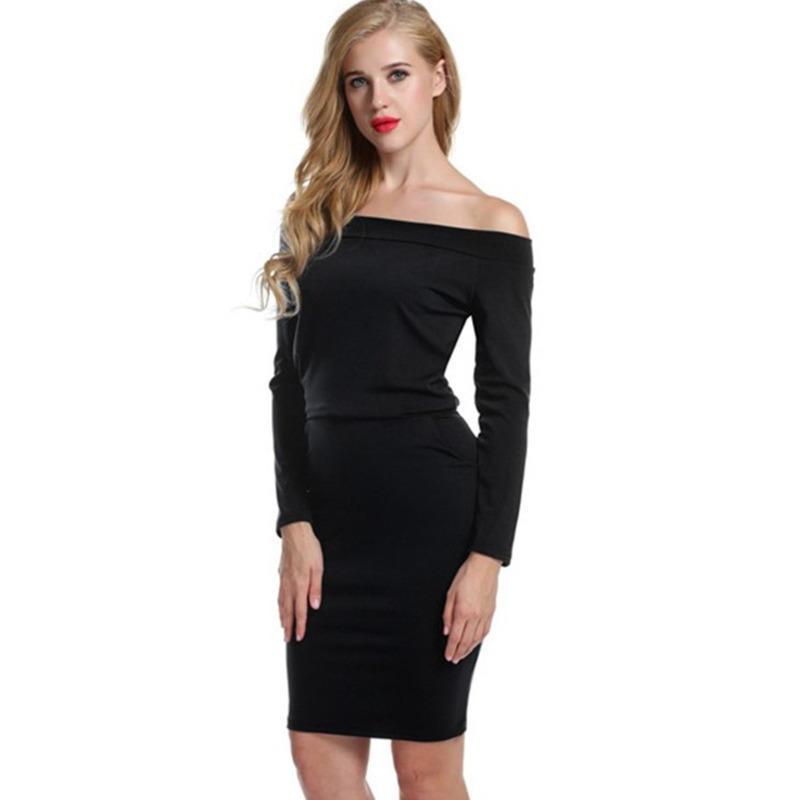 Vestido de gasa de color sólido del collar de la falda delgado para mujer