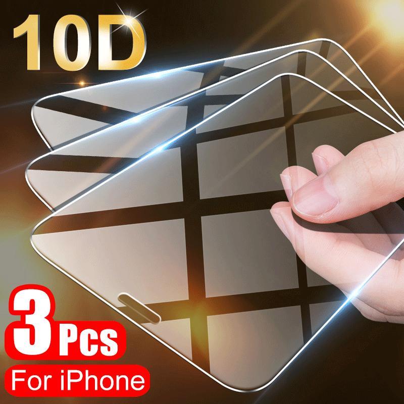 3шт полный охват Защитное стекло на iPhone 11 Pro X XR XS Максимальный экран защиты на iPhone 7 8 6 6s Plus 5 5S SE 12 стеклянная пленка