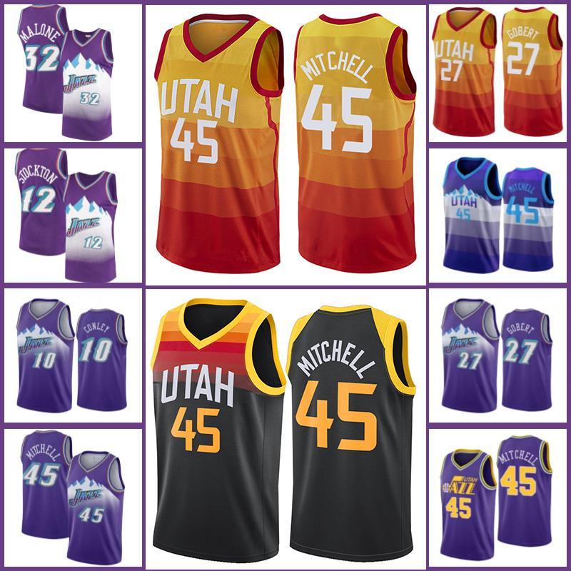 Donovan 45 Mitchell Jersey Utahle jazz2021 City Basketball Jerseys Retro Karl 32 Malone John 12 Stockton Jersey Rudy 27 Gobert