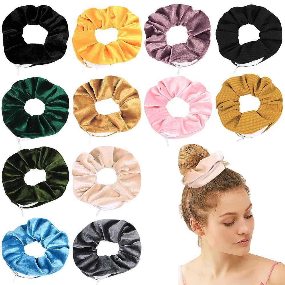 Nouveauté Design Fermeture à glissière Scrunchies Femmes Funny Velvet Bands Cheveux Hiver Cheveux Cravate Scrunches de poche avec fermeture à glissière LLS105