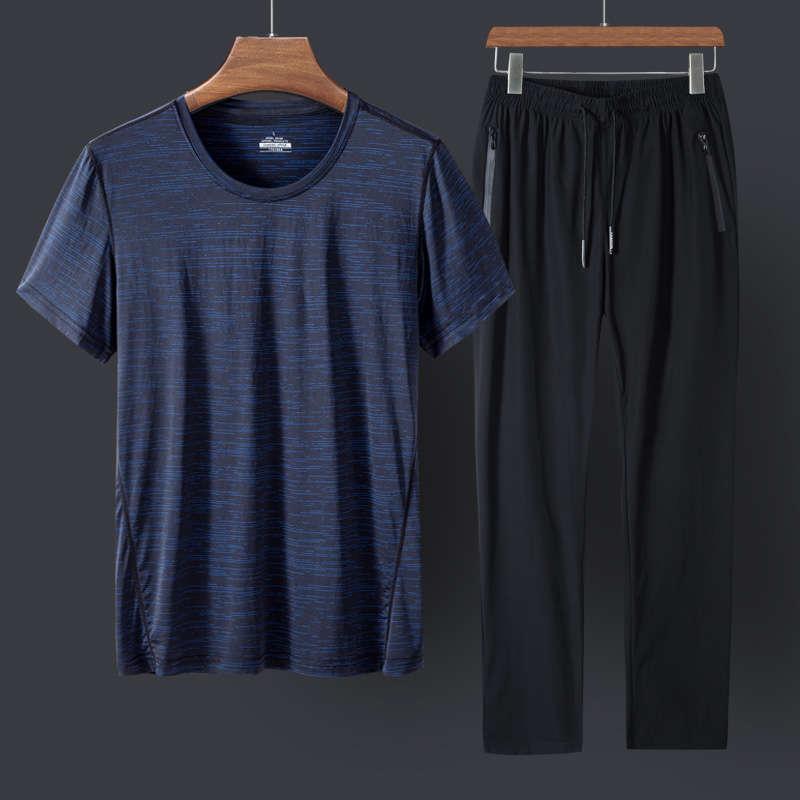 Gelo seda roupas de manga curta pai terno terno gordo t-shirt média envelhecida e idosos desgaste dos homens grandes