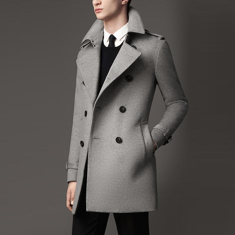 и зима тяжелые шерстяные пальто мужской средней длины Slim Fit British красивый повседневный шерстяной меховой меховой ветровки мужская пальто
