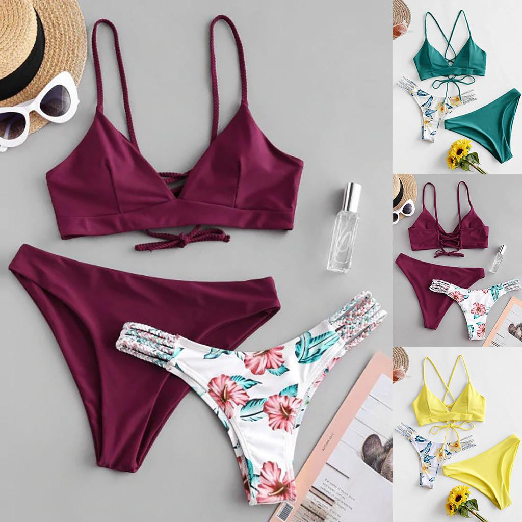 Сексуальные женские бикини принт набор купальник из трех частей наполненный бюстгальтер купальники лето пляжная одежда купальный костюм толчок бикини