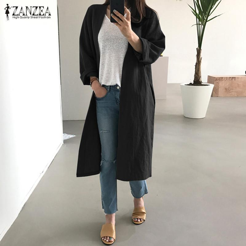 Chaquetas de mujer Zanzea Mujeres Otoño Manga Larga Abrigos Abierto Frente Femenino Trabajo Algodón Lino Cardigan Solid Outwear Femininas Top