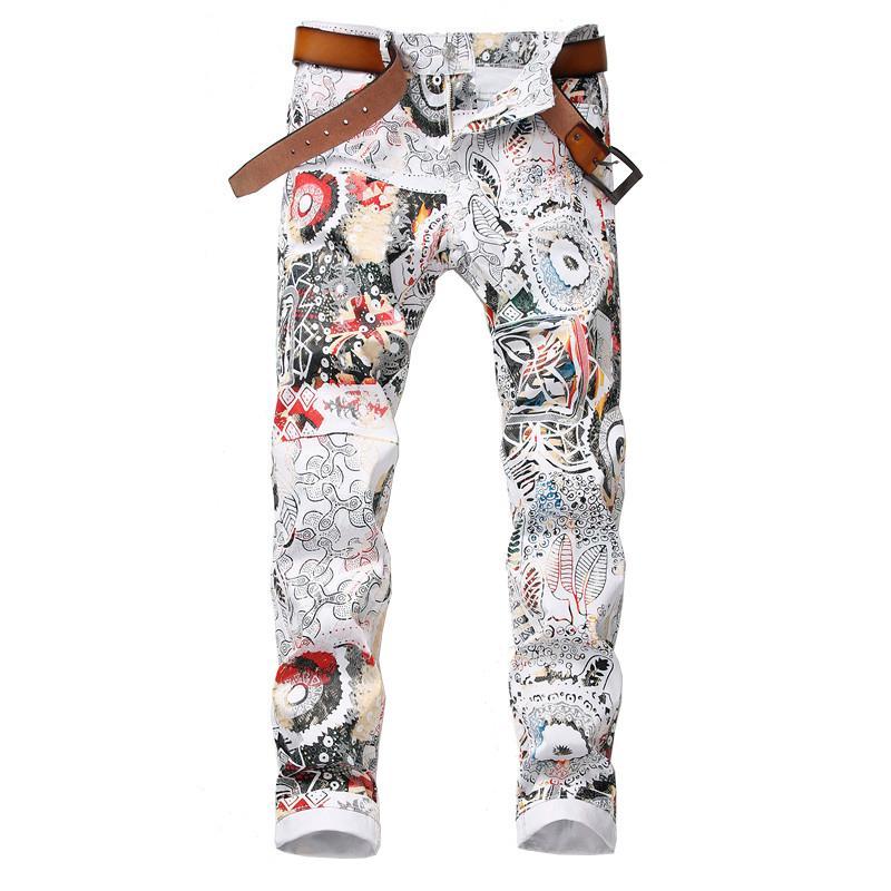 2020 Neue Männer Mode 3D Blatt gedruckt weiße Jeans Slim Fit Stretch Bleistift Hosen Baumwolle Gute Qualität Jeans für Mann