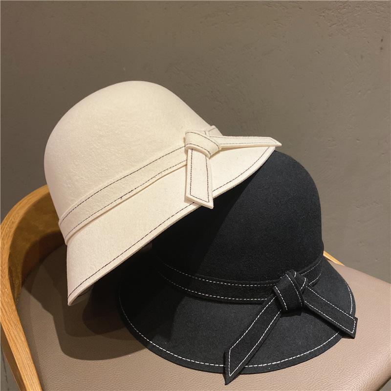 Sonbahar / Kış Yeni Lady Vintage Hepburn Balıkçı Şapka Moda Çok Yön Havza Şapka Mektubu Yün Top Şapka Trend