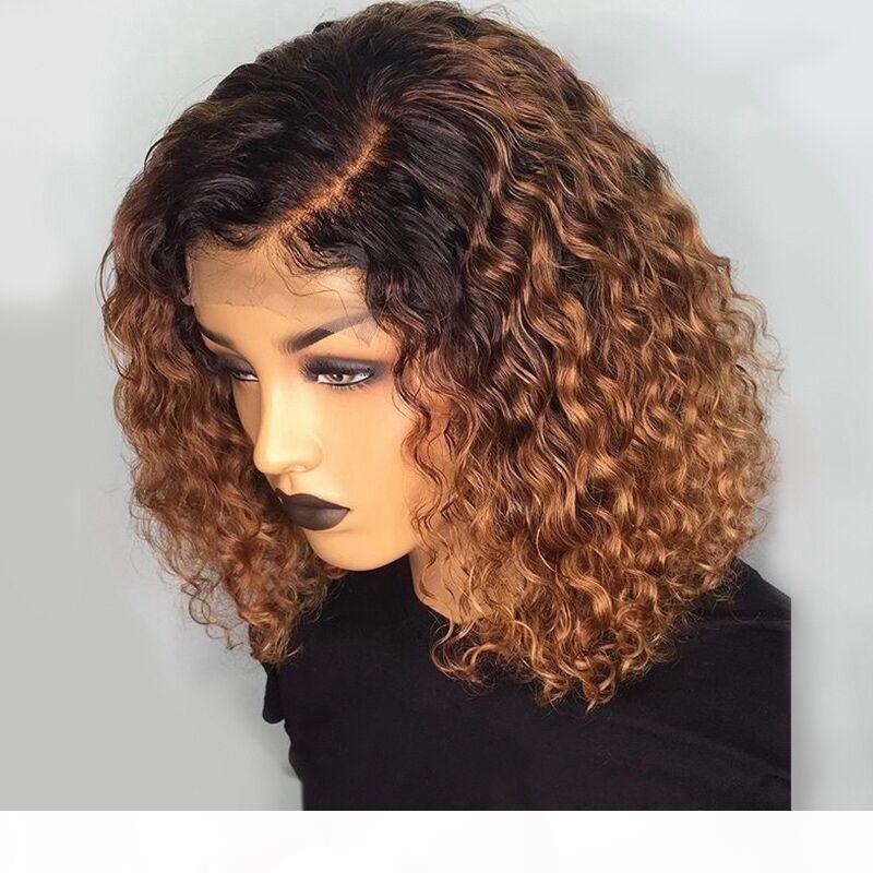 1B 27 Renk Kısa Kıvırcık Dantel Ön İnsan Saç Peruk Ile Bebek Saç Ön Pretted Remy Brezilyalı Dantel Bob Peruk Ağartılmış Knots