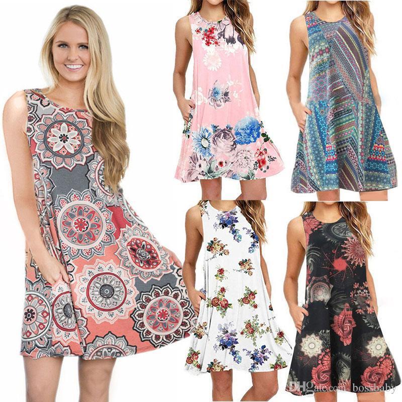 Floral Impresso Mulheres Vestidos 40 estilos Bohemian Beach Dress Mulheres vestidos casuais senhoras lesure mulheres roupas vestidos de mujer 060