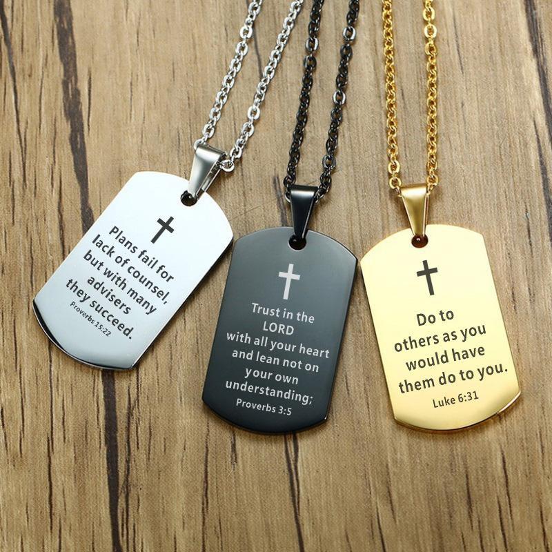 Мужская сталь ожерелье поперечный стих из нержавеющей библейской библии собака подвесной религиозные украшения черный для христианского молитвенного подарка