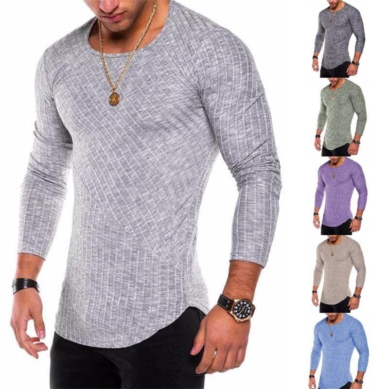 Spring Men T-shirts Tallas de manga larga camiseta a rayas Casual O-cuello sólido Tshirt Elástico Fitness Tops 201166