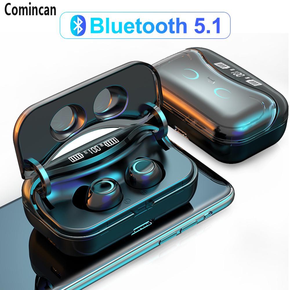 Novo Fone de Ouvido Sem Fio Controle de Toque Bluetooth Headphones 9D HiFi IPX7 Earbuds impermeáveis Esportes Headset com LED Display Caixa de carregamento