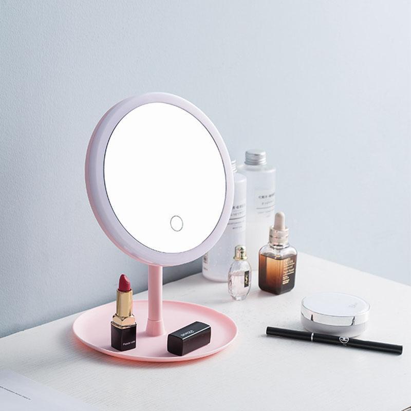 Tragbare High Definition-LED-Make-up-Spiegel-Eitelkeitspiegel mit LED-Leuchten Touchscreen-Dimmer-LED-Desk-Kosmetikspiegel 90-Grad