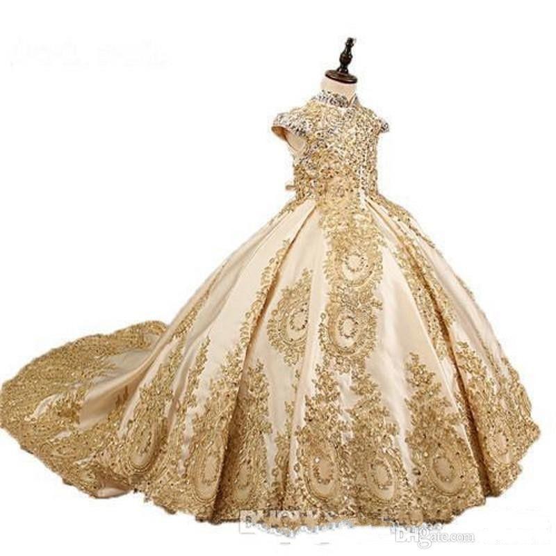 2020 Altın Glitz Balo Prenses Küçük Kızlar Pageant Elbiseler Fuşya Küçük Bebek Camo Çiçek Kız Elbise Boncuk