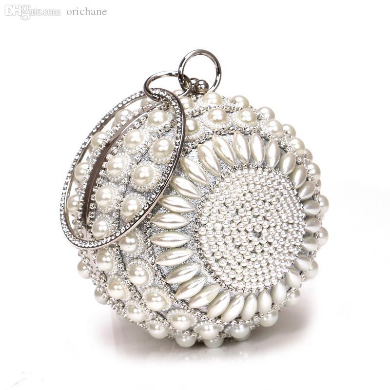 Borsa a mano Party lussurys Wedding classic borse rotonde spalla 2021 Pochette Borsa a frizione Shiny Stramiere Designer Donne Peoir per sera perla P Iwfsu