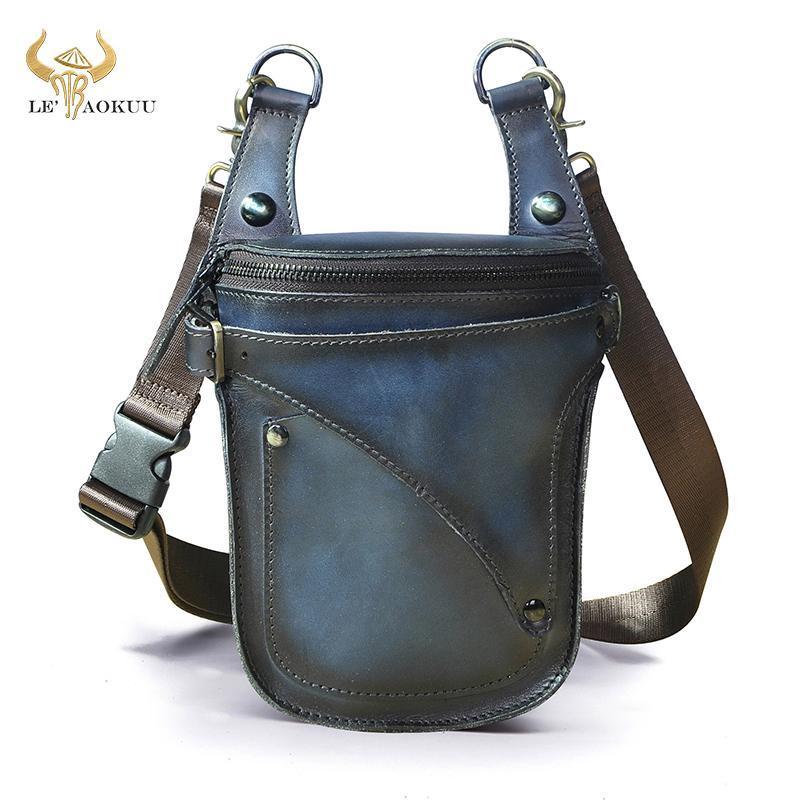 Bolsas de cintura Marca Unisex Brand Genuine Cuero Viajes Moda Azul Pequeño Messenger Bolsa de Hombro Diseño Cinturón Fanny Pack Drop Pierna 9326