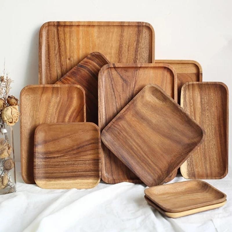 Platos platos cuadrados rectángulo sólido madera placa plato platillo platillo bandeja postre cena pan pan