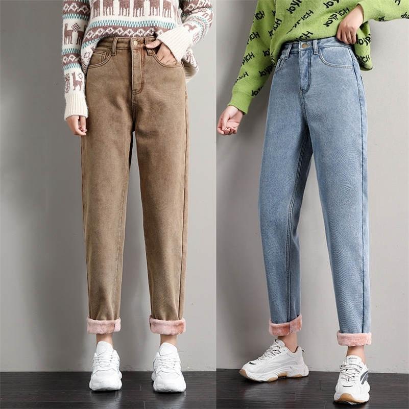 Pantalones vaqueros gruesos de terciopelo más para las mujeres Pantalones de invierno de otoño de las mujeres de la cintura alta de la cintura altas de la cintura suelta de los pantalones de harema ocasionales de los pantalones vaqueros cálidos C6728 201225
