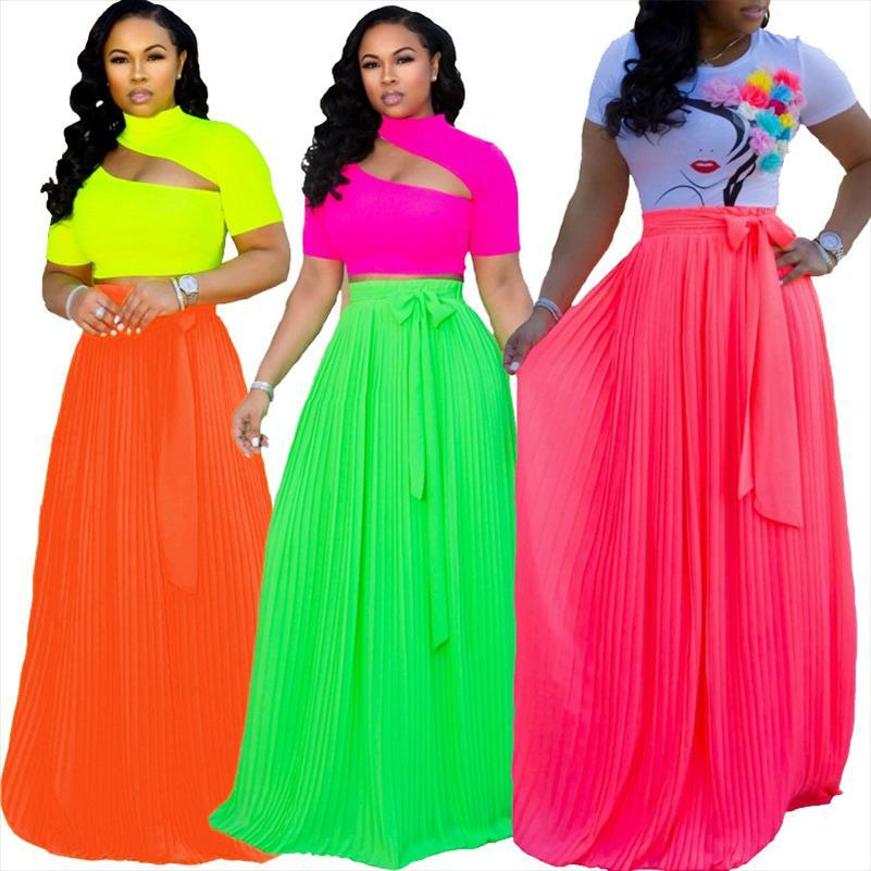 Jupe de mousseline de mousseline de mousseline à haute taille pour femmes 2021 Summer Bohemian Long plissé maxi jupe vert orange rose