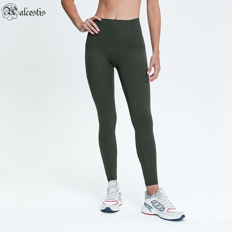 2021 Bolsos laterais No T-Line High-cintura ioga calças nádegas de emagrecimento esportes exteriores de nove pontos