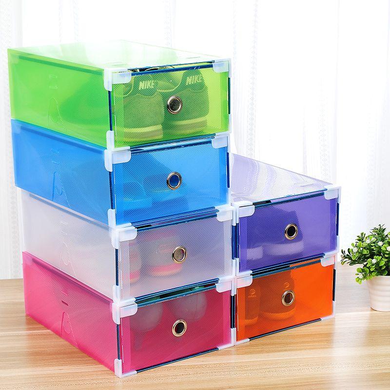 5PCS Transparent shoe box dustproof storage box can be superimposed combination shoe cabinet Clamshell men and women shoe box LJ200812