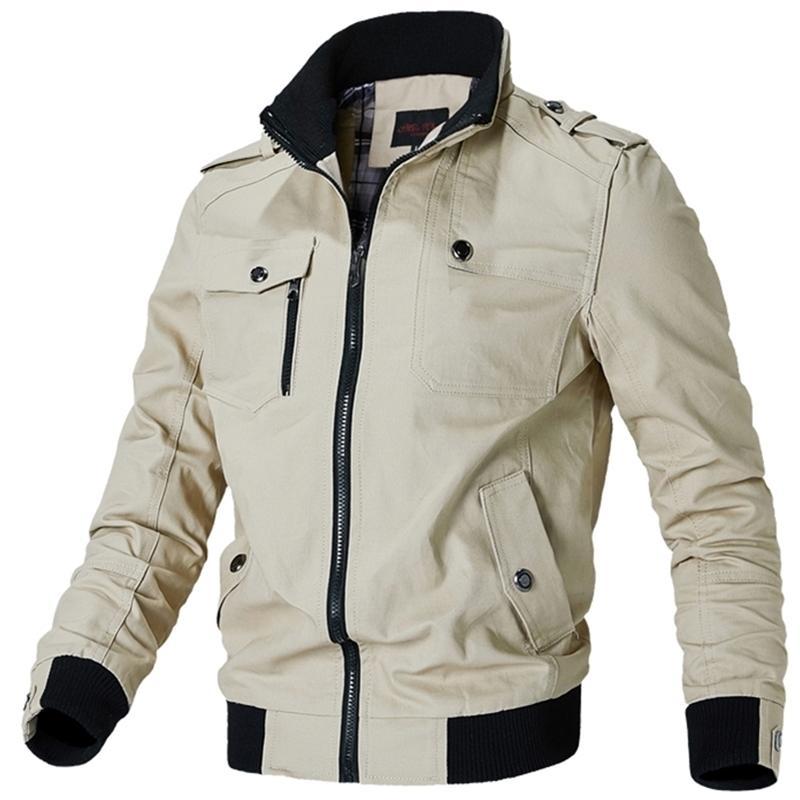 Zíper masculino masculino casual masculino militar algodão piloto casaco do exército jaqueta de voo de carga Y201026