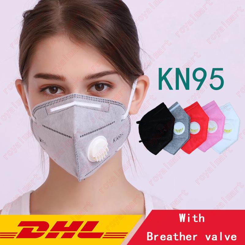 KN95 Maschera per il viso Prova antipolvere Prova di antipolvere Traspirante con valvola respiratoria 5 Layer Protection Masks Color Moda Colore riutilizzabile Bocca Maschere