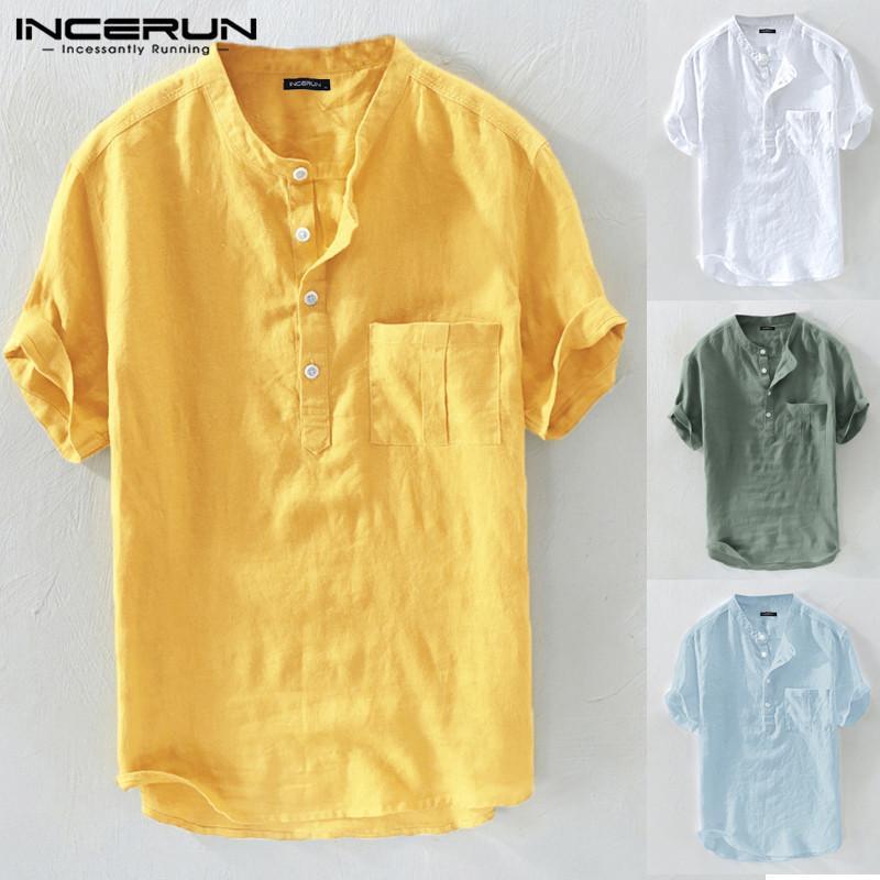 Ancerun Летние повседневные мужские рубашки стоят воротник сплошной хлопчатобумажной блузки с коротким рукавом уличная одежда бренд рубашки Harajuku CamiSas Hombre Y0104